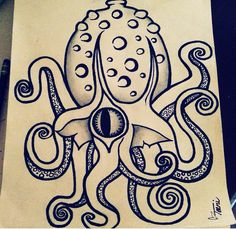 My first freehand traditional style squid or octopus thing lol