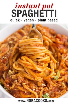 "recipes breakfast Instant Pot Spaghetti with vegan lentil ""meat"". Easy dinner ready in 20 minutes! Instant Pot Spaghetti with vegan lentil ""meat"". Easy dinner ready in 20 minutes! Easy Vegan Dinner, Quick Vegan Meals, Vegan Recipes Beginner, Vegan Lunch Recipes, Vegan Recipes Plant Based, Vegan Dinners, Easy Meals, Healthy Recipes, Instapot Vegan Recipes"