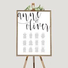 Wedding seating chart printable Seating by ThePrintableShopcom