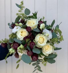 A pretty and natural bridal bouquet including roses, burgundy astrantia, white lisianthus, siergrass and eucalyptus Gardenia Wedding Flowers, Pew Ends, Astrantia, Wedding Bouquets, Floral Wreath, Burgundy, Wedding Day, Roses, Wreaths