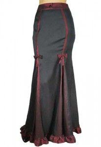 Jade Mackenzie-Black & Burgundy Elegant Long Skirt-$39.00    Love the way this skirt looks!