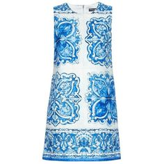 DOLCE & GABBANA Majolica-print brocade dress (£840) ❤ liked on Polyvore featuring dresses, vestidos, short dresses, blue print, floral mini dress, shift dress, floral shift dress und blue print dress