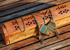 American indian & ethnic necklace macrame, chains, and metal feathers, boho, hippie, tribal, micro macrame jewelry