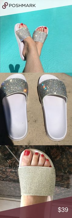 ✨Sparkly Diamanté Crystal Encrusted Rubber Slides✨ Bling it up in these super adorable and sparkly slides! White rubber material with all over diamanté crystals! Super comfortable and true to size! More sizes coming in! Bling Flip Flops, Glass Shoes, Summer Flats, Shoe Boutique, Rubber Material, Glass Slipper, Fashion Over 40, Diy Clothing, Ladies Boutique