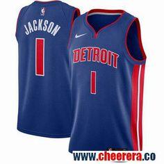 18f47e3780db Men s Nike Detroit Pistons  1 Reggie Jackson Blue NBA Swingman Icon Edition  Jersey