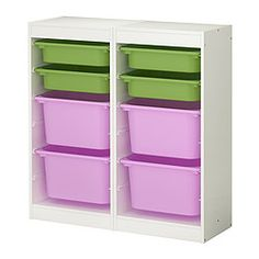 "TROFAST storage combination, multicolor, white Length: 36 1/4 "" Depth: 11 3/4 "" Height: 37 "" Length: 92 cm Depth: 30 cm Height: 94 cm"
