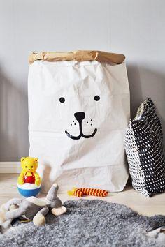 Ours de stockage sac papier de jouets livres ou par Tellkiddo