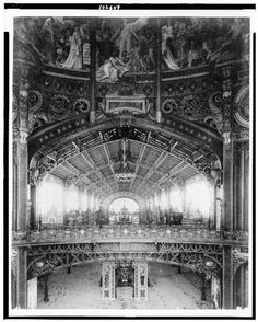 Interior of the Central Dome, with a view toward the Gallery of Thirty Meters, Paris Exposition, 1889