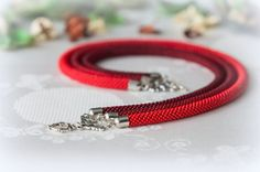 Bead Crochet Necklace Red by Ukigumo on Etsy