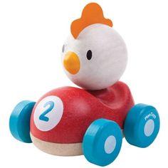 Piou le coq de course de la marque Plan Toys est adapté aux petites mains des tout-petits. Un jouet conçu en PlanWood, une matière écologique composée d'un mélange de bois d'hévéa et de colle E-Zéro à base d'eau.