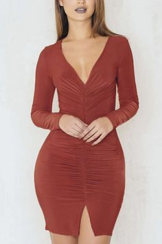 Red Brown V Neck Split Detail Pleated Front Party Dress