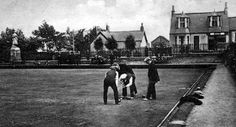 Old photograph of the lawn bowling green in Kelty, Fife, Scotland