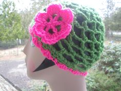 Summer Cloche by SuzannesStitches, Green and Pink Hat, Spring Hat, Summer Chemo Hat, Ladies Summer Skull Cap, Women Summer…