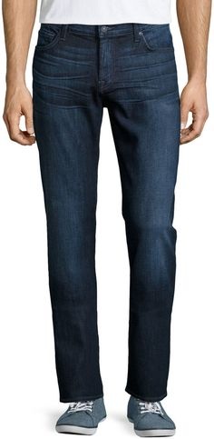 """7 For All Mankind """"Standard"""" dark-wash jeans with whiskering and fading. Approx. measurements: 10.5″ front rise; 34″ inseam; 16″ leg opening. Five-pocket style; signature squiggle stitching on back. Tonal topstitching. Straight legs. Button/zip fly; belt loops. Cotton/spandex. Machine wash. Made in Mexico. Brand: 7 For All Mankind Retailer: Last-Call-by-Neiman-Marcus Similar Item Here  Price : 165.00$ Sale Off Price: 107.25$"""