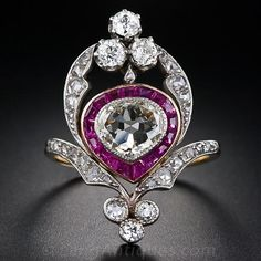 Edwardian Diamond and Ruby Dinner Ring, circa 1900