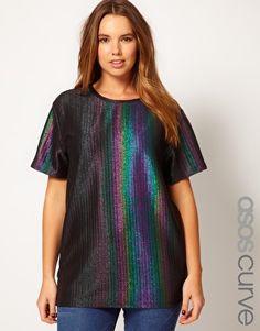 ASOS CURVE Rainbow Holographic T-Shirt