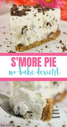 S'more Pie - a no-bake pie made that tastes just like a Smore. Graham crackers, marshmallows, cool whip and chocolate combine into one easy to make S'more dessert. Light and delicious, this summer dessert recipe is a family favorite. Pin this yummy pie recipe for later and follow us for more great No Bake Dessert Ideas. #NoBakeDesserts #Smores #MarshmallowPie Marshmallow Desserts, Recipes With Marshmallows, No Bake Desserts, Baked Smores, Smores Pie, Summer Dessert Recipes, Dessert Ideas, Chocolate Shavings, No Bake Pies