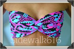 Neon Tribal Bandeau Top Bandeau Bikini Spandex Bandeau Swimsuit