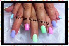 Clear tip acrylics with custom made pastel colour using gel polish