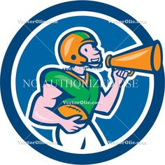 american football, artwork, blowhorn, bullhorn, cartoon, circle, football, graphics, gridiron, hailer, illustration, isolated, loud speaker,...