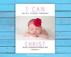 Custom Baby Girl Print I can do all things by Working On Sunday, Printable Bible Verses, Have A Blessed Day, High Resolution Photos, I Can, All Things, Custom Design, Told You So, Printables