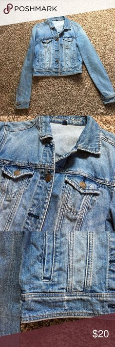 AEO Jean Jacket Worn less than a handful of times. Jean jacket from american eagle outfitters. size medium. distress look to it. no rios, tears or stains except the rips it came with for the distress look. American Eagle Outfitters Jackets & Coats Jean Jackets