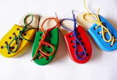 Wooden Lacing Shoe, Montessori toy, Handmade Educational Toy on Etsy, $9.00