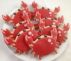 Cute Crab Cookies for a Baby Shower - I had to create a special board for these. Why would you serve crab cookies at a baby shower?