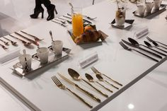 Photo about MILAN, ITALY - OCTOBER Elegant cutlery at Host international exhibition of the hospitality industry on OCTOBER 2013 in Milan. Image Photography, Editorial Photography, Milan Italy, Industrial, Elegant, Tableware, Dish Sets, Classy, Dinnerware