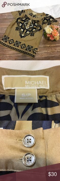 "Michael Kors | 100% Silk Top Size S Excellent used condition! There is a very small white spot on the back of the left sleeve (shown). Approximate measurements (taken with garment lying flat) pit to pit: 19""  length: 22"" MICHAEL Michael Kors Tops Blouses"