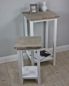 Telefontisch Set Tisch Holz weiß antik Landhaus Beistelltisch massiv braun NEU   eBay