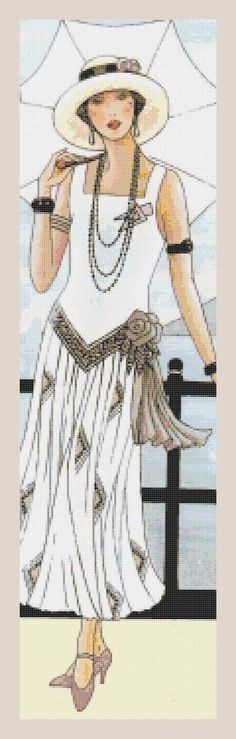 ART DECO CROSS STITCH CHART - LADY IN WHITE WITH UMBRELLA, chart no9B