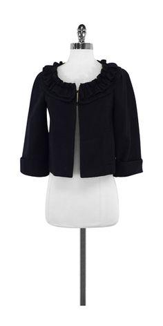 Nanette Lepore Navy Cotton Ruffly Jacket