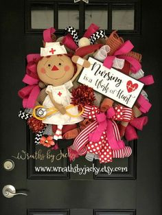50 trendy ideas for nursing home door decorations christmas Christmas Door Decorations, School Decorations, Christmas Wreaths, Deco Mesh Wreaths, Door Wreaths, Burlap Wreaths, Nurse Wreath, Nurse Crafts, Nurse Decor