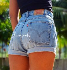 Levis high waisted cuffed denim shorts rolled up by Jeansonly