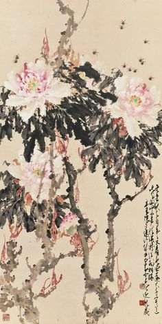 Peonies and Bees, 1961, Zhao Shao'ang