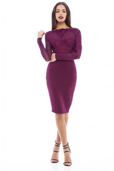 Plum coloured bodycon midi with crochet lace and mesh detailing. This dress features full length sleeves making it the perfect investment buy. Lace Midi Dress, Bodycon Dress, White Long Sleeve Dress, Calf Length Dress, Dresses For Work, Formal Dresses, Crochet Lace, White Lace, Polyvore