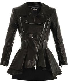 ALEXANDER MCQUEEN • Waterfall peplum leather jacket