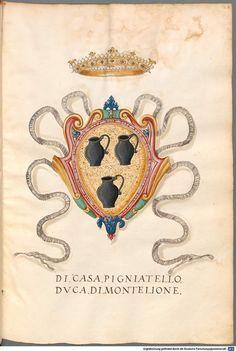"""""""Kardinal Giovanni Acquaviva Wappen"""" (Seite 37) Insignia ... XIV. Insignia Neapolitanorum, Genuensium - BSB Cod.icon. 279 Cod.icon. 279, [S.l.] Italien 1550"""