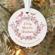 Rustic Christmas holly berry wreath family name Ornament Very Merry Christmas, Rustic Christmas, Christmas Bulbs, Christmas Berries, Modern Christmas, Holiday Cards, Holiday Decor, Christmas Decorations, Invitation Kits