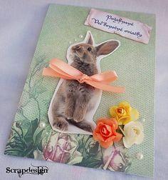 Scrapdesign / Veľkonočná pohľadnica so zajačikom / Easter postcard / scrapbooking