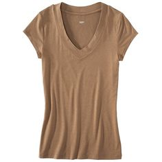Mossimo Women's Dressy Tee - Assorted Colors ($10) ❤ liked on Polyvore featuring tops, t-shirts, dusty trail brown, women's clothing, brown t shirt, short sleeve v-neck tee, v neck tee, bleach t shirt and v-neck tee