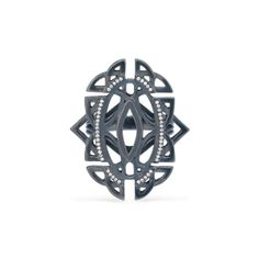 Celtic-inspired geometric oval pierced LAURISTON ring in Celtic Slate Silver with diamond accents by MaeVona.
