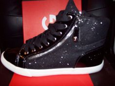 G by Guess Womens Shoes Black Glitter Zippers High Top Sneakers Size 8.5 M #GUESS #FashionSneakers
