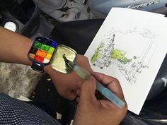 Wir haben uns von Anfang an gefragt, wozu man eigentlich eine Apple Watch braucht. Und hier kommt die beste Bestätigung: EineAquarell Watch am Armmacht sich viel besser. Der Tuschkasten am Handgelenk ist um ein vielfaches praktischer, schöner und günstiger. Die Idee und das Foto stammen vom Студия изобразительных искусств Fine Art Studio aus der Ukraine.