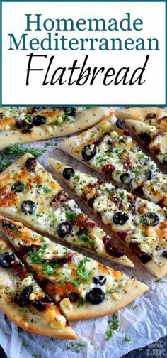 Could You Eat Pizza With Sort Two Diabetic Issues? Fast, Easy, And Delicious Homemade Mediterranean Flatbread-Style Pizza In Less Than Thirty Minutes Simply Change The Toppings To Suit Your Preferences Easy Mediterranean Diet Recipes, Mediterranean Dishes, Mediterranean Appetizers, Mediterranean Flatbread Recipes, Appetizer Recipes, Dinner Recipes, Greek Recipes, The Best, Healthy Recipes