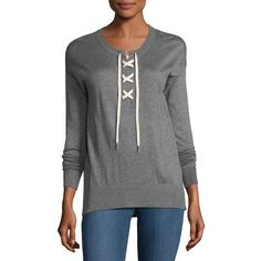 Splendid Lakewood Cashmere-Blend Lace-Up Pullover (£115) ❤ liked on Polyvore featuring tops, sweaters, htr cinder, henley sweater, sweater pullover, splendid sweater, lace up long sleeve top and long sleeve pullover