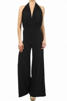 #salediem #springwardrobe #jumpsuits Solid knit jumpsuit with a wide leg and an open back features a plunging V neck, a cinched waist