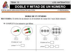 13 DOBLE Y MITAD DE UN NÚMERO - PRIMERO DE PRIMARIA 1, Third, Second Best, Inclusive Education, Math Word Problems, Primary Education