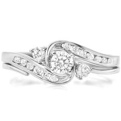 0.50 Carat (ctw) 10k White Gold Round Diamond Ladies Swirl Bridal Engagement Ring Matching Band Set 1/2 CT $429.00